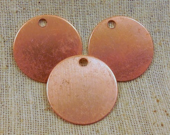 """Raw Copper Round Blank Pendant/Tag 1"""" (6) Die-stamping, Enameling"""