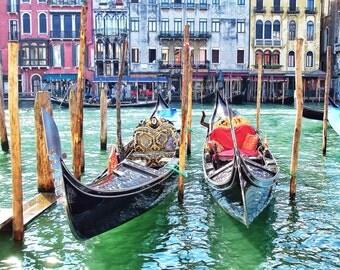 Fine Art photo Venice, Italy, canals, bright, colourful, gondolas photograph 8x10