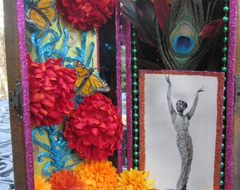 St. Josephine Baker nicho, pin up, shadow box, collage, assemblage
