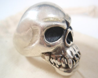 Genuine Ezi Zino  Monkey skull biker  ring solid sterling silver 925