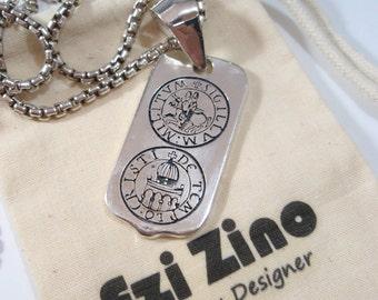 ezi zino the seal of KNIGHTS TEMPLAR MASONIC  dog tag necklace Pendant sterling silver 925