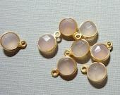 Pink Chalcedony Vermeil Sterling silver Bezel Rim Pendant Charm, 10x7mm - 6mm stone - 2 pcs - SC007 - Jan Birthstone
