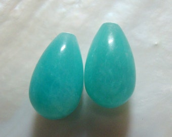 Peru Amazonite Smooth Teardrop Briolette, Half drilled Teardrop briolette,  8x13mm, A Quality - Designer Pieces
