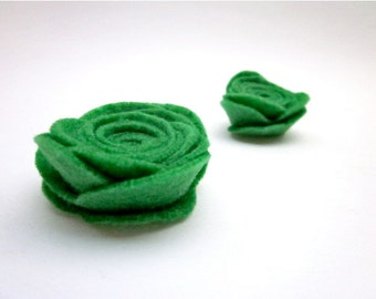 Felt flower Pin Accessories -- Green Flower Pin -- Grass Green Pins -- Felt Flower -- Felt Pin -- Green Lapel Pin -- Green Felt Brooch