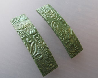 Polymer Clay Barrettes - Pair of 2 Inch - Olive Green