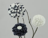 Navy Blue/White Flowers - Baby Nursery - Centerpiece - Lake House - Beach/Nautical Decor - Weddings - Cottage Style - Rustic Pom Pom Flowers
