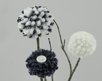 Navy Blue/White Flowers - Baby Nursery - Centerpiece - Lake House - Beach/Nautical Decor - Weddings - Cottage Style - Rustic Pom Pom Flowers