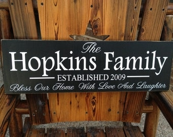 Bless Our Home Sign~Family Gift~Love And Laughter Custom Sign~Bless Our Home Last Name Sign~Family Established Custom Wood Sign~Wedding Gift