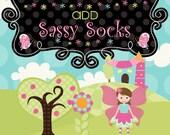 Add SASSY SOCKS to your order! made to match tutu set, ribbon trimmed socks, girls socks, infant socks