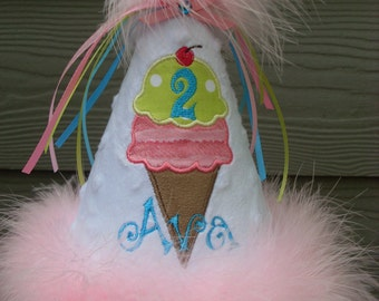 Custom Party Hats...ICE CREAM party HAT with lime and aqua... any color, icecream, marabou...first Birthday..dress up..Princess hat , tutus,