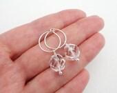 Small hoop earrings sparkly earrings silver hoop earrings  clear glass beads minimalist earrings for women