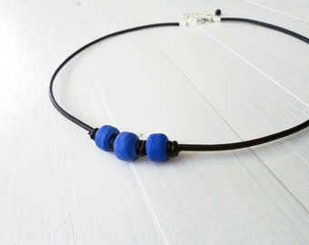 Blue bead necklace black leather necklace pony glass beads black cord necklace for men for women