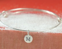 Adjustable Sterling Silver Bracelet,Personalized Initial Charm,Bangel Braclet, Free US Shipping