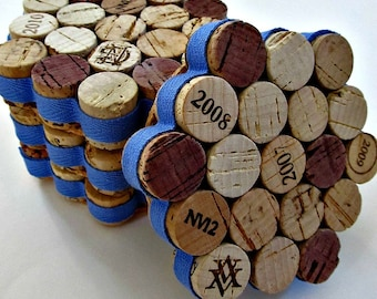 Honeycomb Wine Cork Coaster With Denim Blue Ribbon - Set of Four - Housewarming Hostess Gift Wedding Beach Decor
