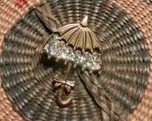 Umbrella Gold Metal Pin with Sparkles Vintage