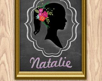 Custom personalized Silhouette digital wedding gift printable wall art decor , digital typography printable download, laurel letter