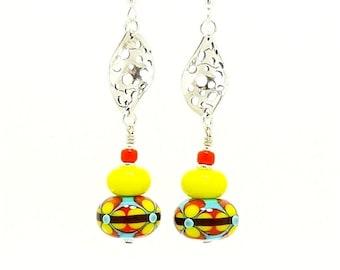 Bright Colorful Earrings, Lampwork Earrings, Glass Bead Earrings, Yellow Turquoise Orange Earrings, Dangle Earrings, Beadwork Earrings