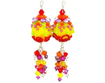Yellow Red Earrings, Colorful Earrings, Bright Earrings, Lampwork Earrings, Glass Earrings, Beaded Earrings, Dangle Earrings, Cute Earrings