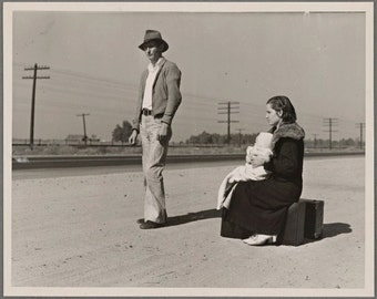 Penniless family 1936 Dust Bowl Hard Times Image 8 1/2 x 11 suitable for framing.