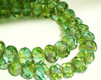Picasso Czech Glass Beads 6 x 8mm Green and Aqua Blue Faceted Rondelles 10 Pcs. RON8-148