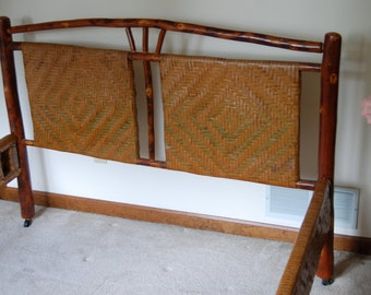 vintage old hickory wood bed full bed old hickory bed handmade hickory furniture - Vintage Bed Frame