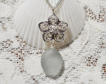 Sea Glass Beach Jewelry Necklace in Deep Grey and Flower Drop Sterling Silver 5672