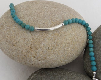 Turquoise and Silver Bar Bracelet