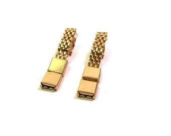 Vintage 1940s Gold Metal Mesh Earrings