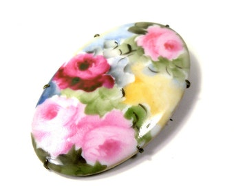 Vintage extra large Roses Flowers Porcelain Oval Brooch // Pin
