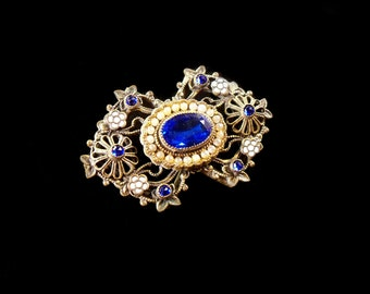 Antique Brooch // Pin Gorgeous Sapphire, Enamel Flowers, Faux Pearls on Filigree Brass
