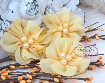 NEW: 4 pcs Lavinia YELLOW Soft Chiffon and Tulle w/ pearls Ruffled Fabric Flowers, Hair accessories. Headband Flowers. Scrapbooking.