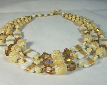 Tan and Creme Crystal & Glass Bead 3 Strand Necklace