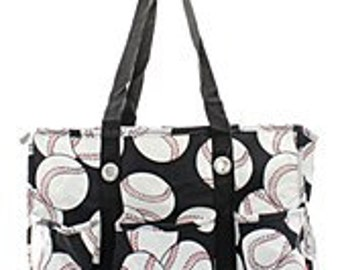Monogrammed Utility Tote with pockets Baseball