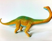 Hand Painted Yellow Brontosaurus Dinosaur Toy Collectible Figurine