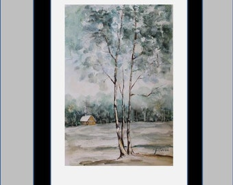 Original Watercolor Painting- Winter- 6x9 FREE SHIPPING
