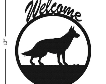 Dog German Shepherd Black Metal Welcome Sign