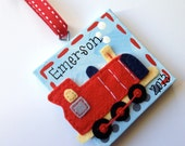 Personalized felt train Christmas ornament