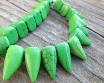 Green Magnesite Spikes 16x10mm Double Drilled 7 Inch Strand