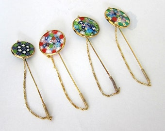 4 Vintage Italian Gold/Silver Murano Hairpins,Stickpins,Old New Stock