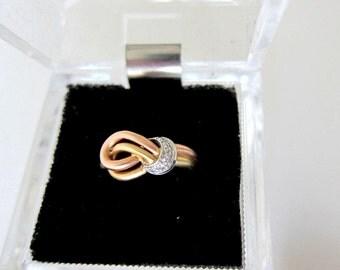 Vintage 14K Yellow & Rose Gold Swirl Diamond Ring,Size 7 1/2
