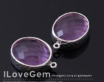 B2721  Matt Rhodium plated, Lilac, Oval pendant, Glass pendant, Framed glass, Faceted glass charm, 2pcs