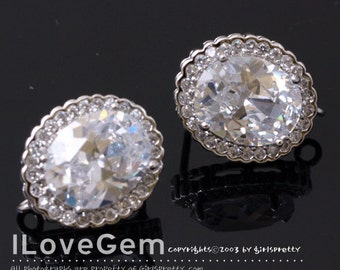 One Loop-SALE / 10pcs / NP-1575 Nickel free Rhodium Plated, LUX Cubic zirconia Oval earring, 925 sterling silver post