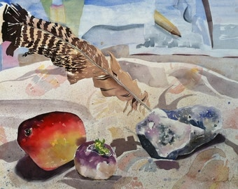 Original Watercolor Painting Still Life with Feather and Fruit