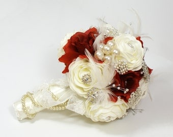Brooch Bouquet - Jeweled Bouquet - Feather Bouquet - Rhinestone Brooch Bouquet - Pearl Bouquet - Bridal Bouquet - Wedding Broach Bouquet
