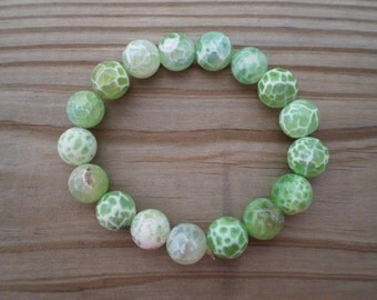 Faceted Green Fire Agate Stretch Bracelet
