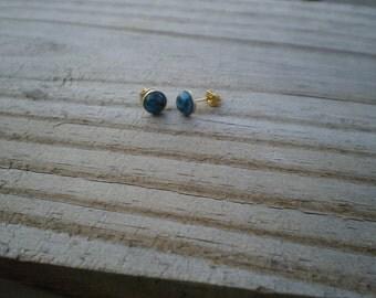 Kingman Mine Turquoise Matrix Stud Earrings 6mm