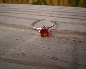 Faceted Lab Created Padparadscha Sapphire Ring, Sterling Silver,  Size 8