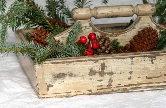 Wooden Garden Tray Entertaining Serving Tray Caddy Tote by yholste