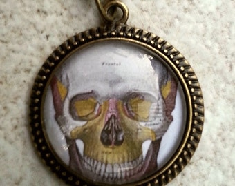 CLEARANCE Vintage Skull Glass Cameo pendant in Vintage setting with chain