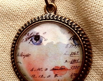 CLEARANCE  Face Baby Doll Cameo Pendant in Gun Metal Silver Setting with chain